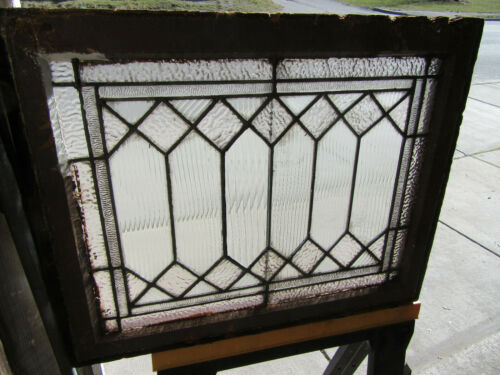 ~ANTIQUE STAINED GLASS TRANSOM WINDOW ~ 27.25 x 21.75 ~ ARCHITECTURAL SALVAGE ~