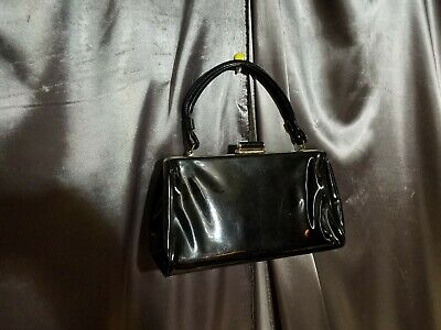 1950s Handbags, Purses, and Evening Bag Styles Black Patent Leather vtg purse Handbag by Spilene usa made rockabilly 1950s 50s $12.99 AT vintagedancer.com