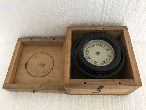 Maritime Marine Nautical Compass In DovetaIl Wood Box Vintage Navigational Tool