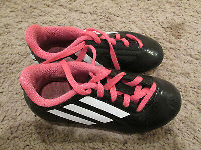 8ae6f7e4339c6 adidas TRK FG Pink, White and Black Girls Soccer Cleats SIZE 10 1/2 K Kids