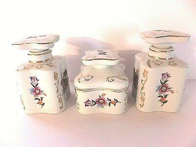Antique Thames 3 Piece Porcelain Dresser Set Perfume's & Trinket  Stunning!