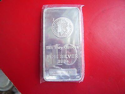 Morgan Dollar Design 10 Troy Ounce .999 Fine Silver Bar - MADE IN USA  :