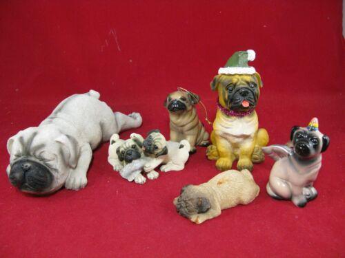 resin & ceramic lot of 6 Pug dog puppy figures figurines ornaments good shape