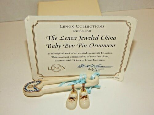 LENOX - Jeweled Baby Boy Pin Ornament - Blue Diaper Pin with Baby Shoes - GEMS!