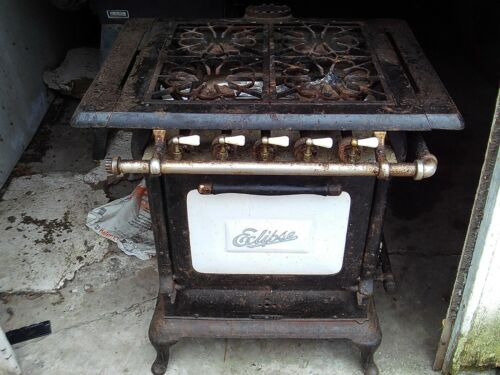 Antique Vintage 4 Burner Gas Stove co. no.283 Rockford Illinois
