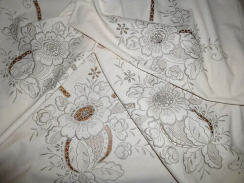 "Vintage Madeira Embroidered Linen Tablecloth102"" x 70"" Needlework 6 Napkins"