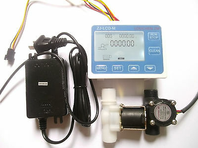 G12 Water Flow Control Lcd Displayflow Sensor Solenoid Valve Power Adapter