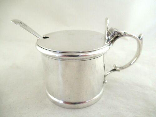 Solid Silver  DRUM SHAPED MUSTARD + SPOON  Hallmarked:-LONDON 1939