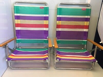2 RIO Beach Collection Folding Lawn Chairs Aluminum w/ Wood Arms Pastel Striped