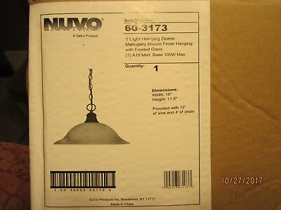 Nuvo 1 Light Hanging Dome Fixture Mahogany Bronze Finish Frosted Glass NIB