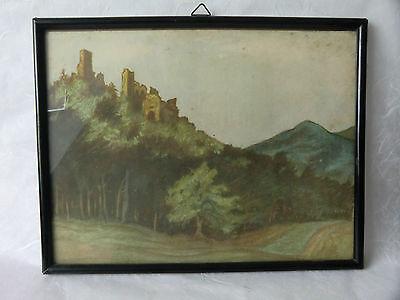 Burgruine im Bayrischen Wald Kunstdruck nach Karl Graph Speyer 1925 26x33cm Holz