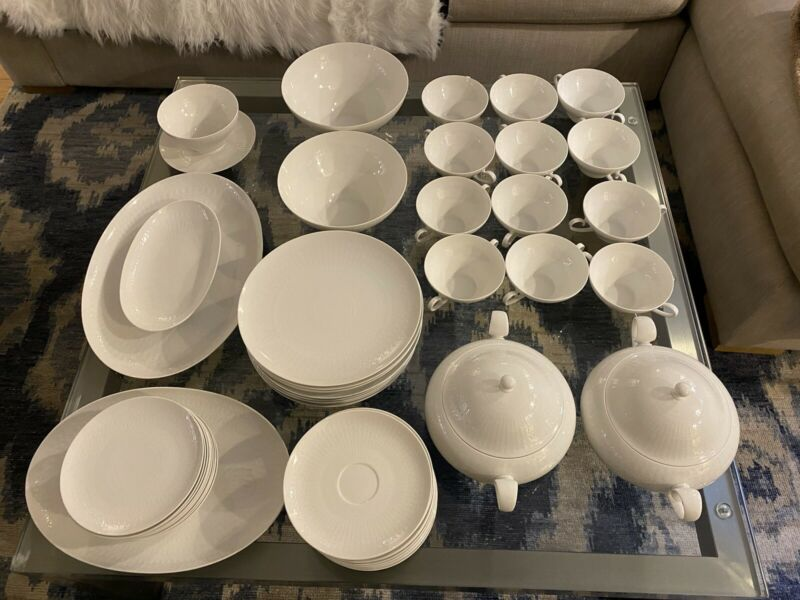 50-Piece Vintage White Porcelain Dinner Set- Rosenthal Romance by Bjorn Wiinblad