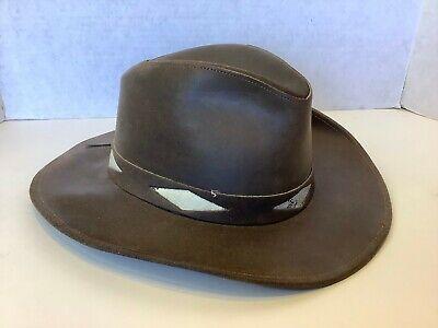 Henschel Leather Hat Hatquarters USA Size Large Brown Western Safari Snake
