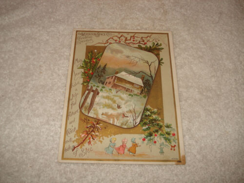Antique Woolson Spice Co Victorian Christmas card