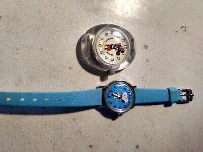 Vintage Character Watch Lot Mickey Mouse glass, Bradley, schulz snoopy 1958