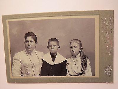 Mährisch Trübau - Frau und 2 Kinder - Mädchen und Junge - Portrait / CDV