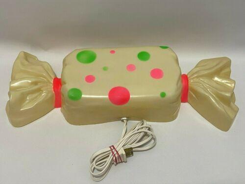 Vintage Halloween Candy Wall Light Plastic Blow Mold Lamp Polka Dot Pink Green