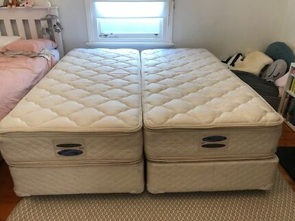 2 x Sealy Posturepedic Single Long XL Beds (Makes 1 x King Bed)
