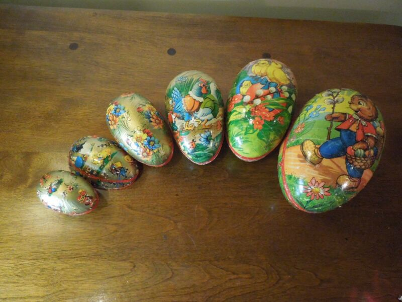 Vintage Set of 6 Paper Matryoshka Nesting Easter Eggs Decorative Candy Container