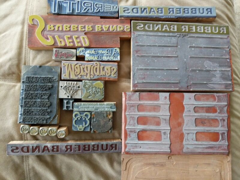Lot of 21 vintage printing plates dies advertising rubber bands Mardi Gras