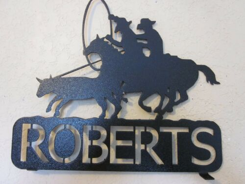 TEAM ROPERS MAILBOX TOPPER (YOUR NAME) STEEL TEXTURED BLACK POWDER COAT