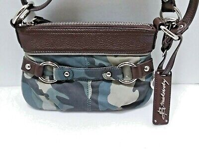 B Makowsky Camouflage Camo Leather Crossbody Bag Purse EUC