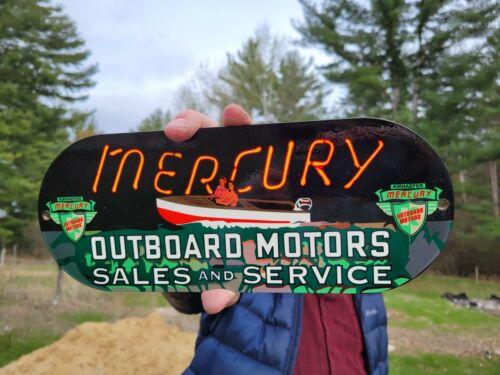 VINTAGE OLD MERCURY BOAT MOTORS PORCELAIN BAIT TACKLE FISHING METAL SIGN
