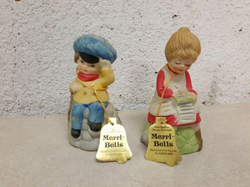 Vintage Christmas Merri-Bells 1978 Jasco Porcelain Boy and Girl Lot of 2