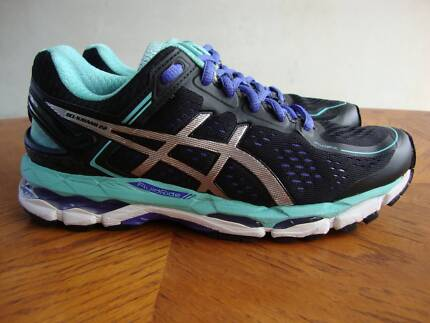 Women's Asics Gel Kayano 22 Black/Purple/Teal size US 6 - EU 37