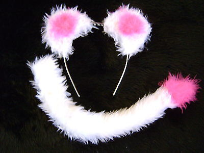 Cat Lion Dog Animal Ears And Tail Set White & Bright Pink Fancy Dress Handmade ()