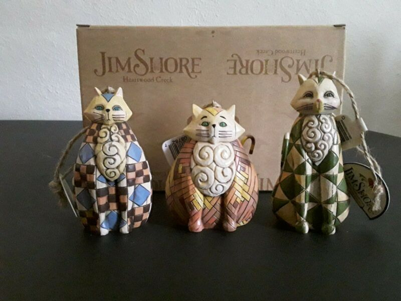 Jim Shore Heartwood Creek Cat Ornaments 4006318 3 Piece Mint in Box