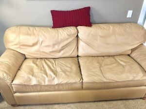 Camel color leather couches