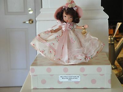 NANCY ANN STORYBOOK DOLL #152 MARY HAD A LITTLE LAMB. JOINTED, BOX, GOLD TAG.