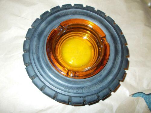 VINTAGE BERGOUGNAN INDUSTRIAL TIRE ASHTRAY, AMBER GLASS INSERT