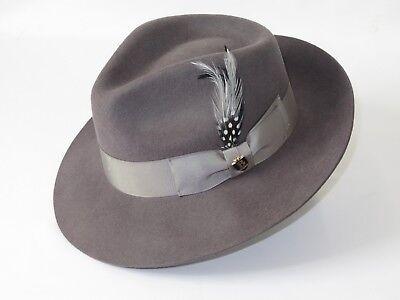 Aussie Wool - Mens Bruno Capelo Dress Hat Australian Wool Fedora Tear Drop Feather Fabio Gray