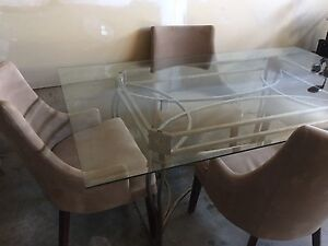 Dining room set, glass table, comfortably chairs