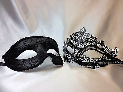 His and Hers Masquerade mask pair for couple Halloween costume black dress Party