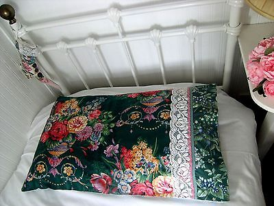 Handmade Pillow case Upcycled Laura Ashley Cotton, Vintage & New Fabrics Trim