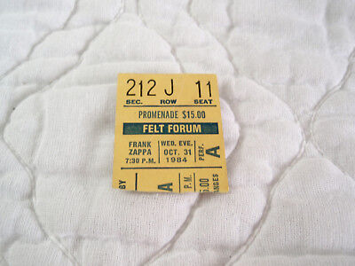 FRANK ZAPPA TICKET STUB FELT FORUM OCT. 31 1984 LIVE IN CONCERT HALLOWEEN NYC - Halloween Live Concert