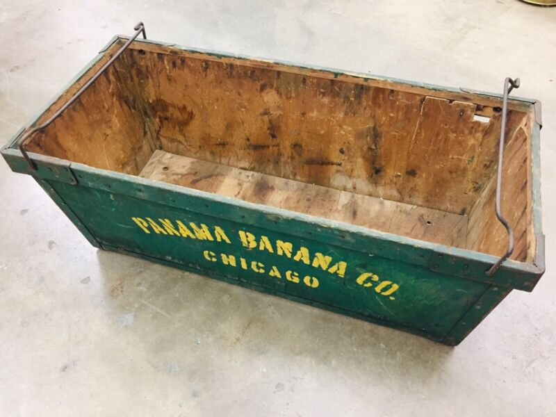 "VTG Large Wood / Metal Panama Banana Co. Box Shipping Crate Chicago 35""x 16"""
