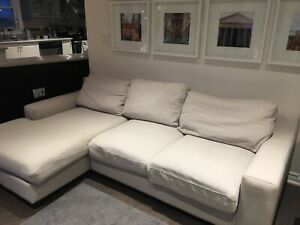 Linen couch with chaise, excellent condition,