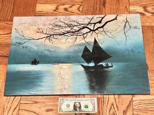 Beautiful Black Lacquer Asian Painting Sailboats on Lake at Dusk Serene Natural!