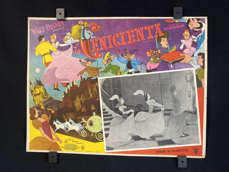 "Vntge Cinderella La Cenicienta Walt Disney Original MEXICAN LOBBY CARD~16""x12"""