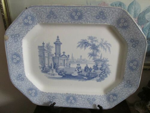 Antique W. Adams & Son  England Ironstone Blue Transferware Large Platter 18""