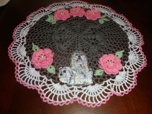 Country Rose/Pewter w/Multi-Dog Lhasa Apso Hand Crochet Doily/Flowers Original