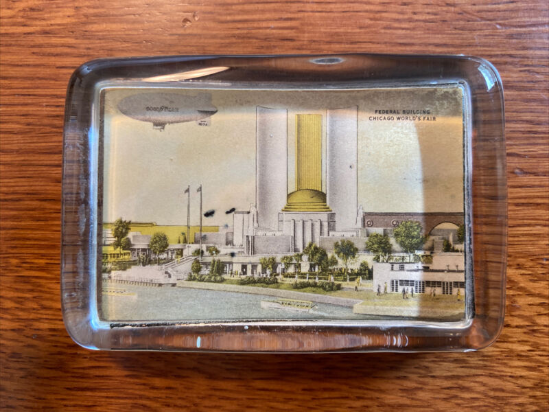 1933 Worlds Fair Chicago Federal Building Glass Paperweight Embedded Image Blimp