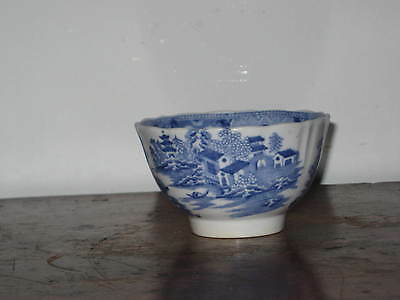 OLD ENGLISH  BLUE & WHITE TEA BOWL EARLY 19TH CENTURY