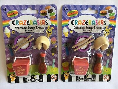 2 Packs Novelty Erasers CRAZERASERS Chinese Food, Fortune Cookie, Soy Sauce, Etc - Novelty Erasers