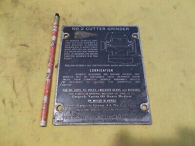 Cincinnati No 2 Tool Cutter Grinder Id Plate Machine Cover