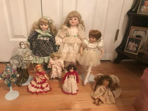 Lot Of 9 Porcelain, Wood And Miscellaneous Dolls - $16.00